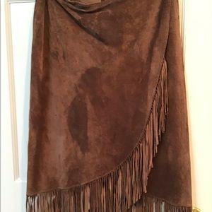 Chico's Leather Fringe Brown Maxi Skirt Size 2